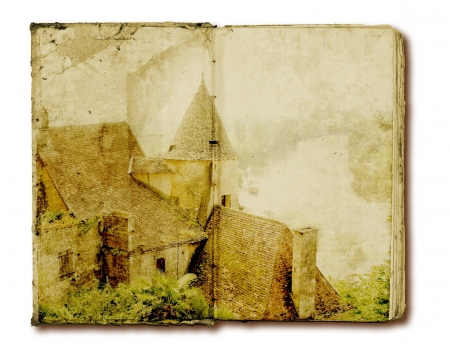 Old open book with rural illusttration photo