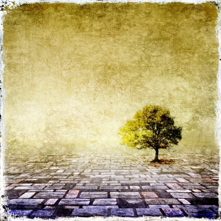 tree in field: Surreal landscape with single tree Stock Photo
