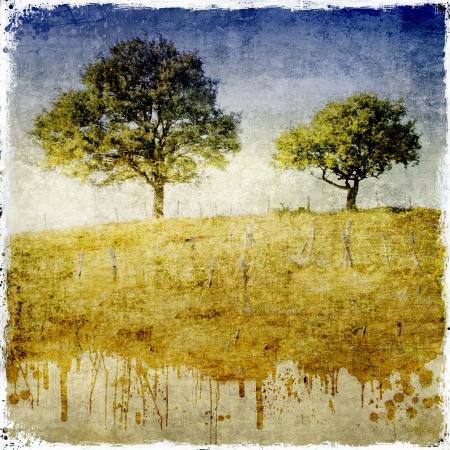 Dripping dettaglio paesaggio con due alberi
