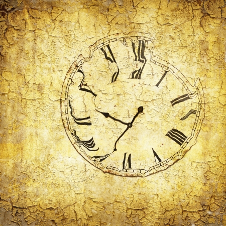 Grunge paper with liquefied clock Stock Photo