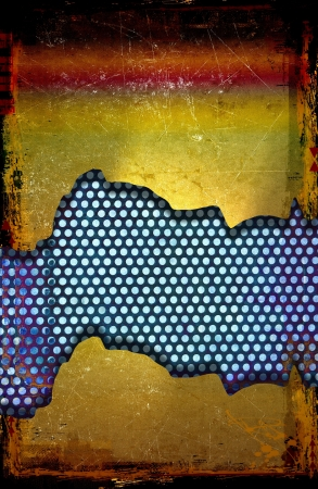 Grunge abstract background with perforated metal plate photo
