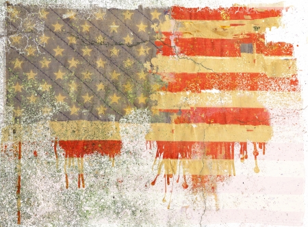 Grunge dripping american flag photo