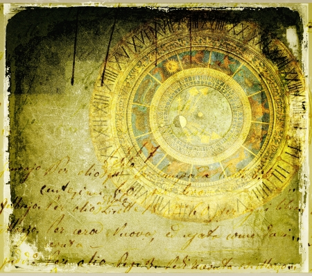 Grunge background with astronomical clock photo