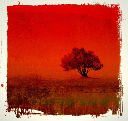 Grunge red background with tree photo