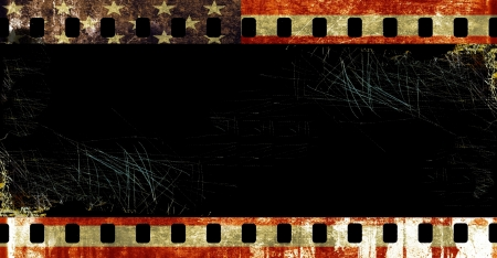 Grunge film borders with symbolic americans colors photo