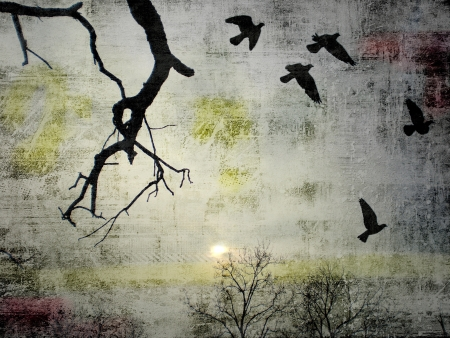 Grunge background with illustration