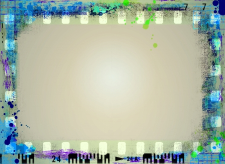 Grunge blauwe film strip frame Stockfoto