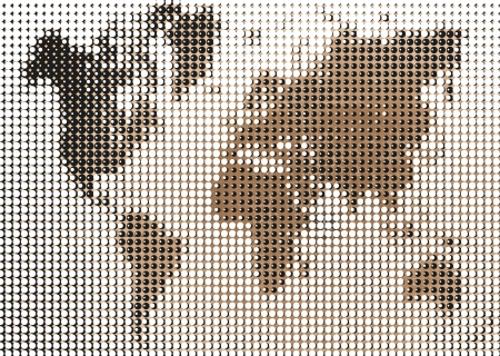 Sepia world map dotted halftone