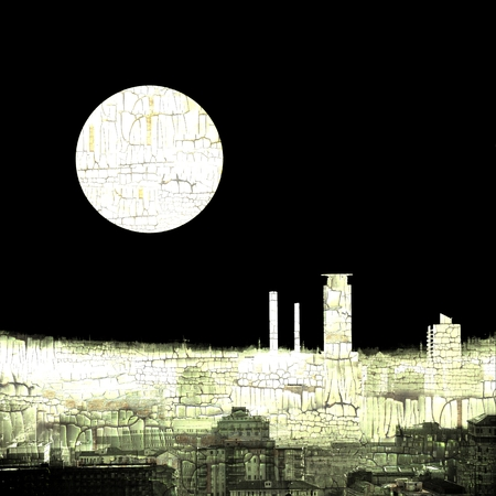 full moon effect: Abstract skyline city background with full moon