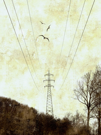 photographic effects: Grunge background with illustration of electricity pylon
