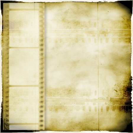 Vintage sepia background with film strip Stock Photo