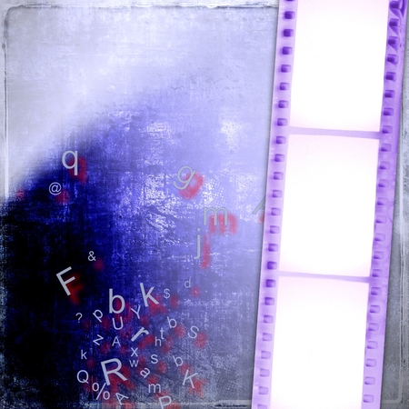 aging process: Blue film strip background with alphabet letters