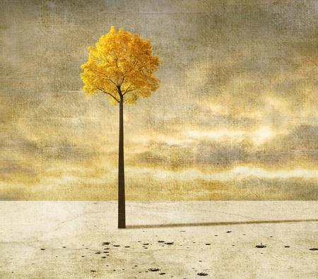 単一のツリーとシュールな風景 写真素材