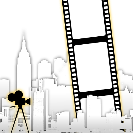 spot lit: Abstract film strip background with stylized city skyline and old cine camera