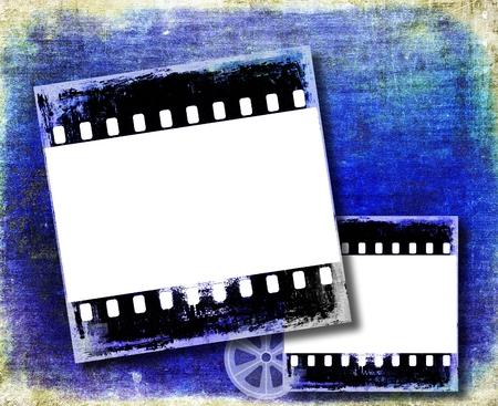 blue film: Grunge blue film strip frame Stock Photo
