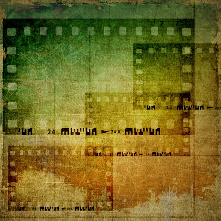 film industry: Vintage film strip frames background Stock Photo
