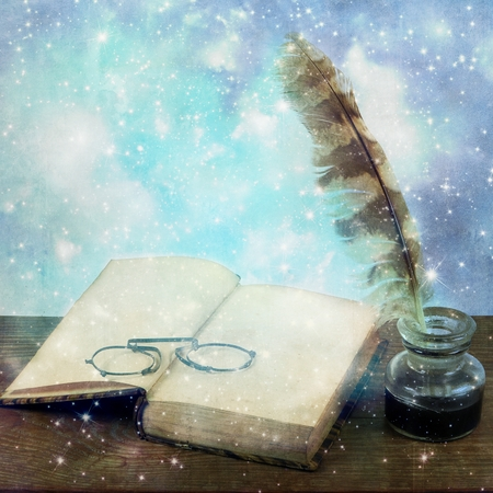 inkwell: Starry old open book with pince-nez and inkwell