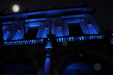 nocturnal: Nocturnal renaissance architecture in blue light. Piazza Loggia. Today seat of the city council City Hall of the city of Brescia, Italy.