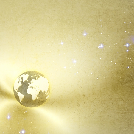 a courtesy: Golden background with planet earth and stars. Basic image of earth courtesy NASA. Stock Photo