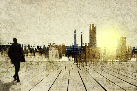 unrecognizable: Abstract city skyline with small male figure unrecognizable
