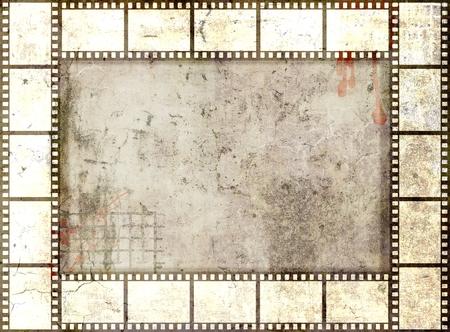 gray strip: Grunge film strip frame. Gray  tones Stock Photo