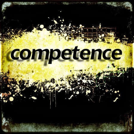 competence: Word competence on black and yellow grunge background. Communication concept. Stock Photo