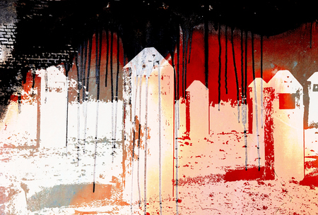 grave stone: Headstones nameless on red background with black dripping Stock Photo