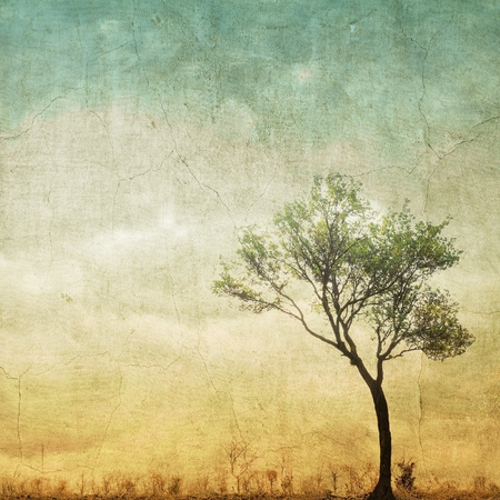 copy space: Surreal single tree on cloudy sky with copy space.