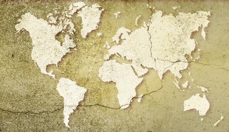 a courtesy: World map on sepia cracked background. Basic image for map courtesy NASA. Stock Photo