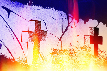 tombstones: Halloween background with crosses without names and effects of fire and flames. Stock Photo