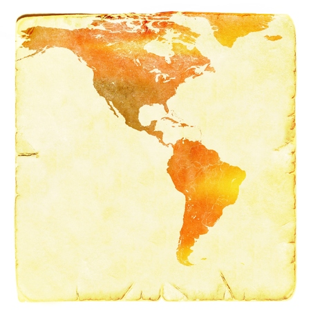World Map In Red And Yellow Tones USA And Latin America Ancient - World map latin america us