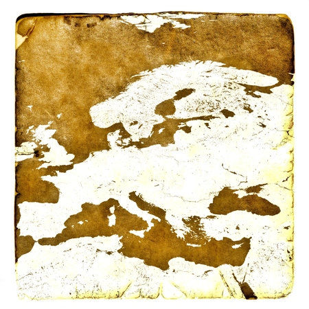 a courtesy: Map of Europe blank in old style. Brown graphics in a retro mode on ancient and damaged paper.  Basic image of earth courtesy NASA.