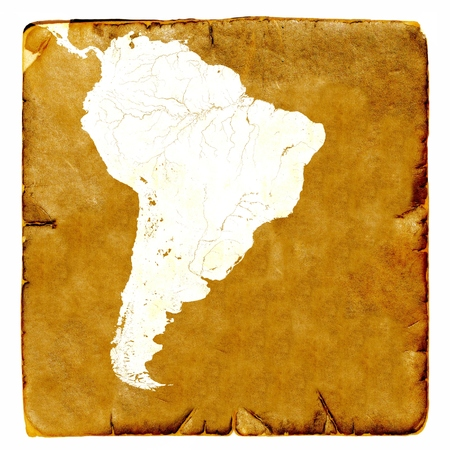 latin america: Map of Latin America blank in old style. Brown graphics in a retro mode on ancient and damaged paper.