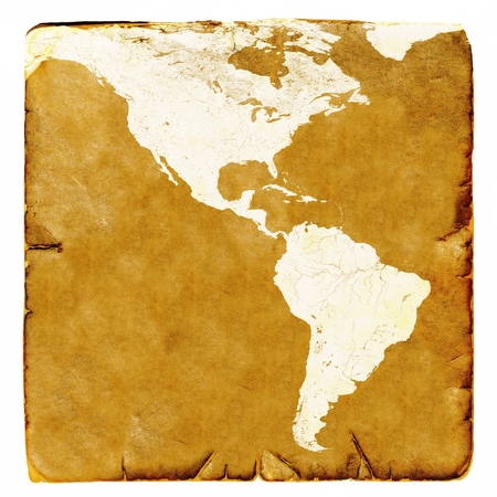 latin america: Map of USA and Latin America blank in old style. Brown graphics in a retro mode on ancient and damaged paper.