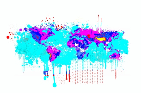 Splash dripping world map in blue and magenta colors. Basic image of Earth courtesy NASA.