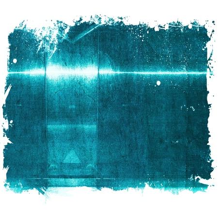 brushed aluminium: Grunge blue aluminum surface with borders. Metallic geometric  texture background. Industry concept.