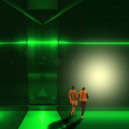 Surreal green metallic interior room with two figures of young men walk towards the light.