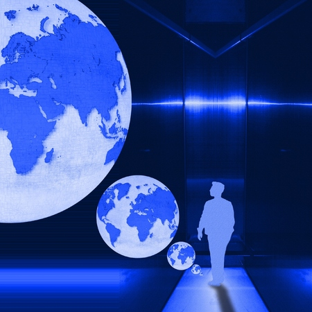 Surreal blue metallic interior room with figure of young man and world globe. Archivio Fotografico