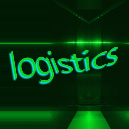 Word LOGISTICS written on green reflecting metallic background. Industry concept. Archivio Fotografico