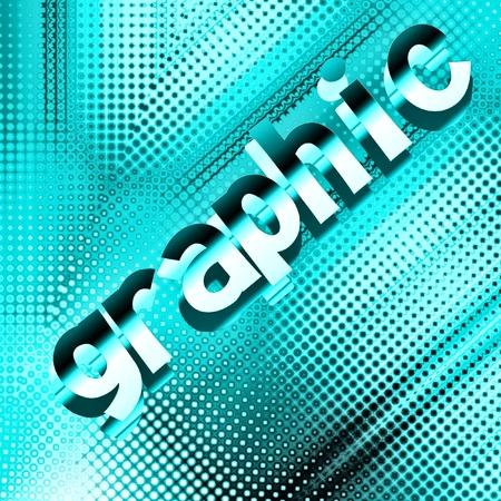 Parola GRAPHIC su sfondo blu punteggiato punteggiato Archivio Fotografico