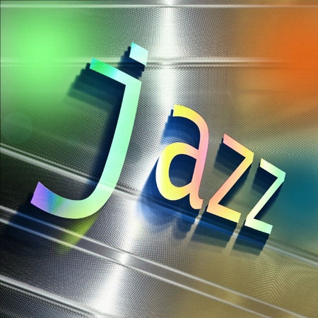 Colorful word JAZZ on reflecting aluminum plate. Music information concept.