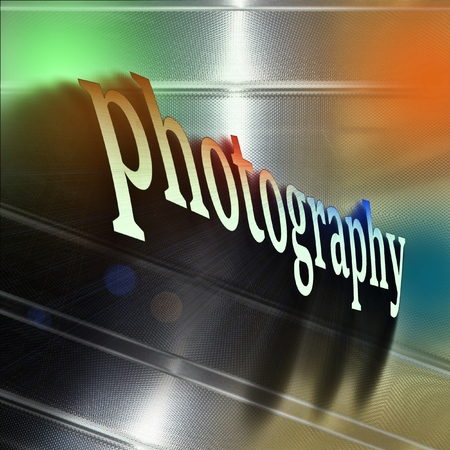 Word PHOTOGRAPHY on reflecting aluminum plate.