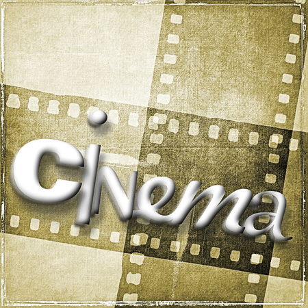 Cinema word written with random characters. In the background we have vintage film strip in sepia tones.