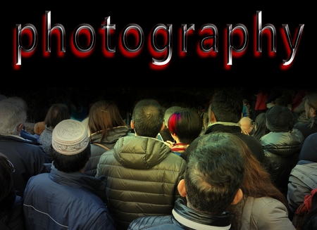 style advice: Crowd of people from the rear look at red photography word. Communication concept.