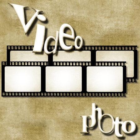 Video and photo words on film strip background