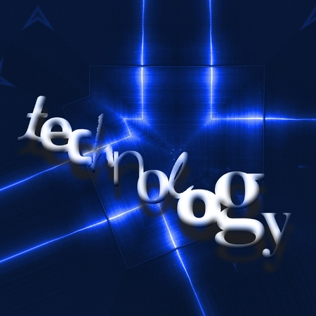 TECHNOLOGY word on blue reflecting metallic background.