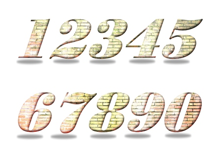 Set di numeri da uno a zero. Vecchio riempimento di muro di mattoni.
