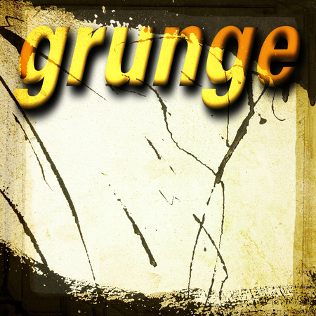Yellow grunge word on the wall dripping background
