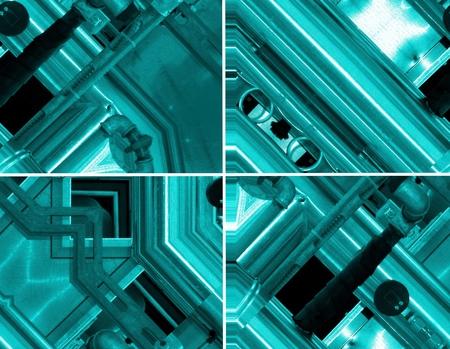Sfondo blu alluminio Set di quattro illustrazioni. Tubi metallici e componenti tecnologici astratti. concetto industriale.