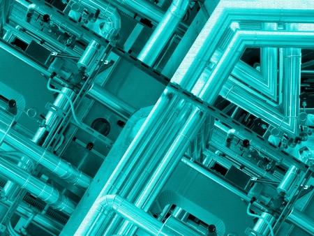 fondo in alluminio blu. tubi metallici e componenti tecnologiche astratte. concetto industriale. Archivio Fotografico